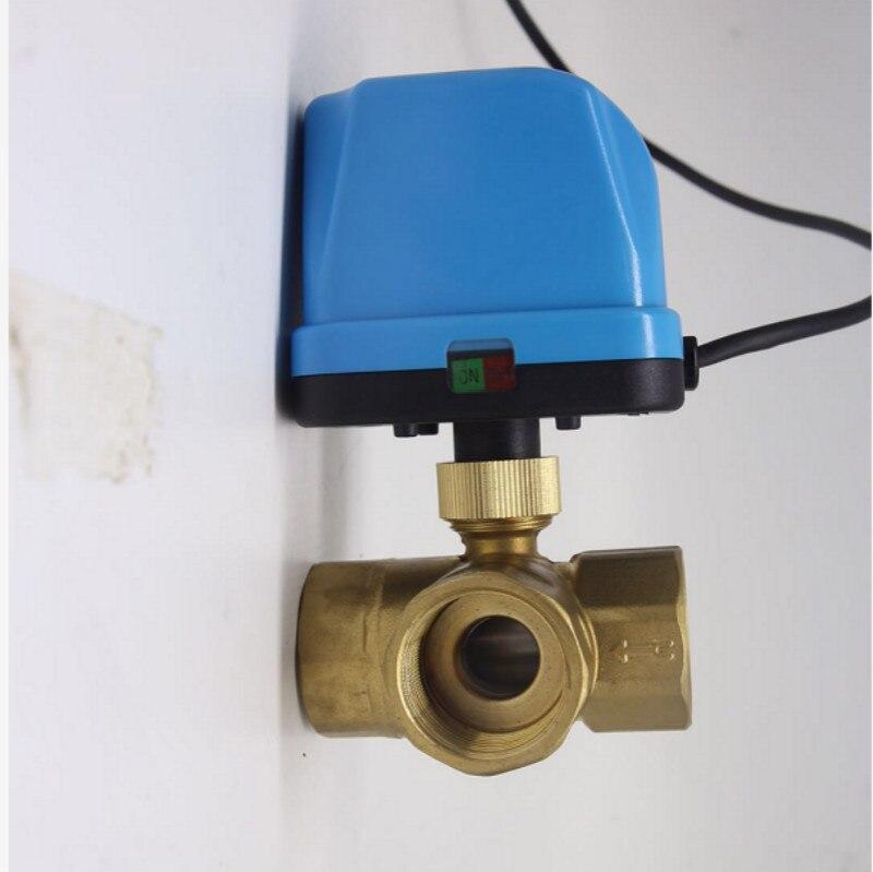 3 voies motorisée vanne à boisseau sphérique électrique vanne à boisseau sphérique vanne motorisée Trois ligne commande à deux voies AC220V DN15-DN25