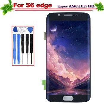 Para reemplazo para Samsung Galaxy S6 borde G925 G925F G925A pantalla LCD con marco táctil digitalizador de montaje de pantalla Super Amoled