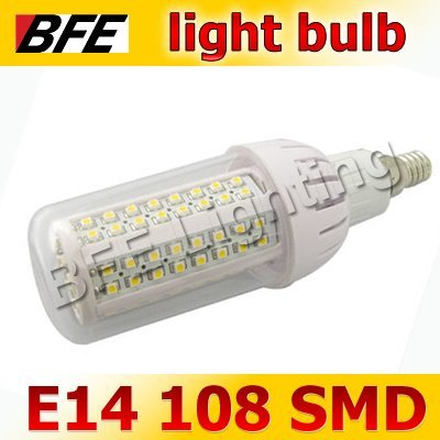 Supernova Sales 4pcs/Lot E14 108 SMD LED 6W Warm/Cold White Corn LED Lamp Light Bulbs Bright Drop Ship