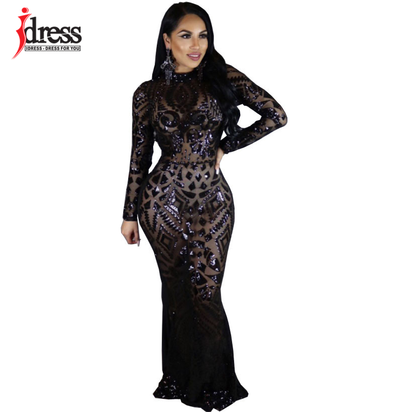 IDress Winter Women Red Black Sequin Party Night Club Dress Sparkling  Bandage Bodycon Dress Mujer Vestidos a45582be332e