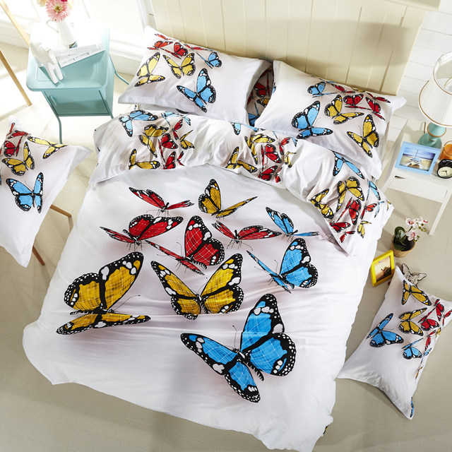 100% Cotton Butterfly 3D Bedding Set Flowers Lion Bed Linen Duvet Cover Bed  Sheet Set Queen Size Colorful Butterfly Bedclothes