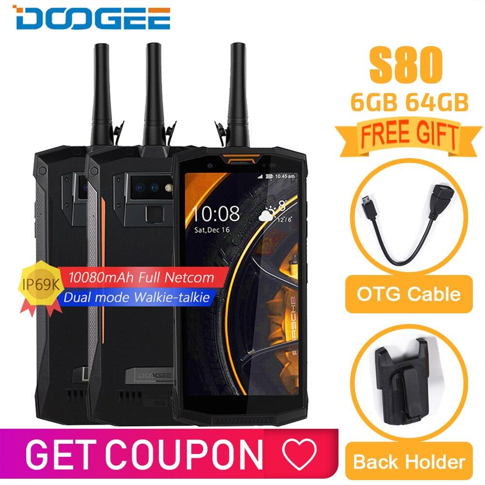 IP68/IP69K DOOGEE S80 Carga Sem Fio Do Telefone Móvel NFC 10080 mAh Helio P23 12V2A 5.99 FHD Octa Núcleo 6 GB 64 M 16.0 GB do telefone móvel