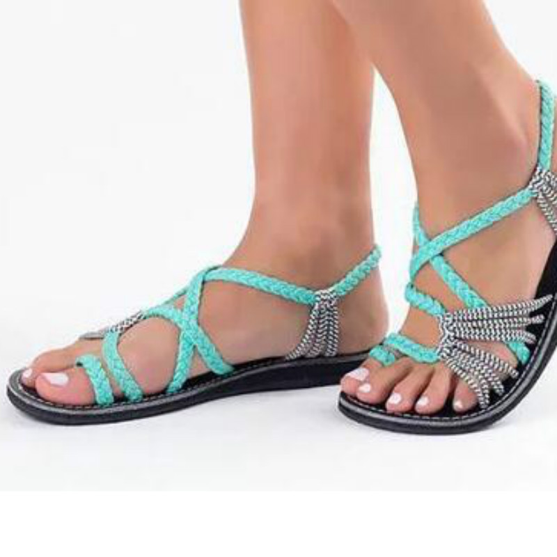 New product explosions large size rope knot ladies sandals 2018 summer Europe beach toe flat sandals women's shoes цена 2017