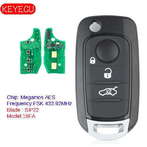 KEYECU Remote Key Fob 3B 433,92 MHz ID48 Chip für Fiat 500X Egea Tipo 2016 2018 Megamos AES 16FA-in Autoschlüssel aus Kraftfahrzeuge und Motorräder bei