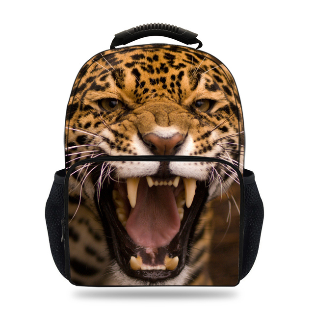 15-inch Kids Animal School Bags For Teenage Girls Leopard Backpack For Kids  Boys Children Bag