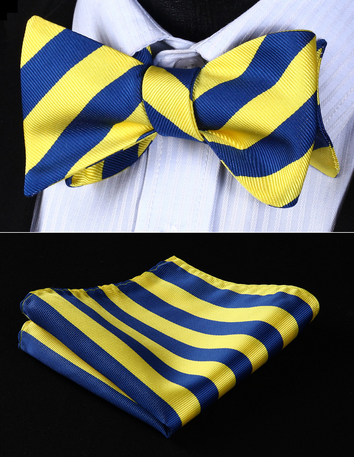 Wedding Pocket Square BS903YS Yellow Blue Stripe Bowtie Men Silk Self Bow Tie Handkerchief Set Party  Classic