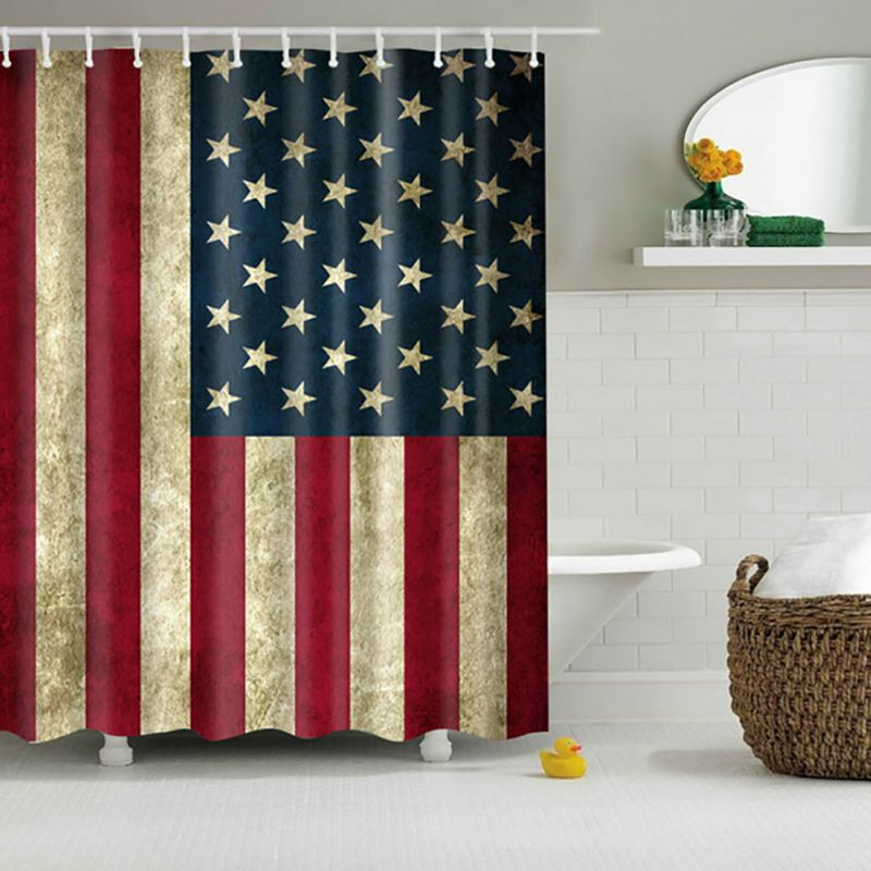 Patern Shower Curtain Bathroom Curtains Bath Waterproof Polyester American Flag With Ring Hooks 1Pcs