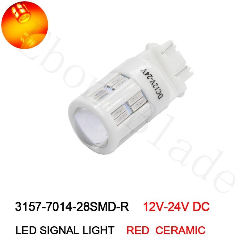 1Pcs Ceramic LED 3157 P27/7W T25 Red 7014 7020 Chip High Power 28 LED Brake Tail Stop Lights Car Bulbs 12V - 24V DC