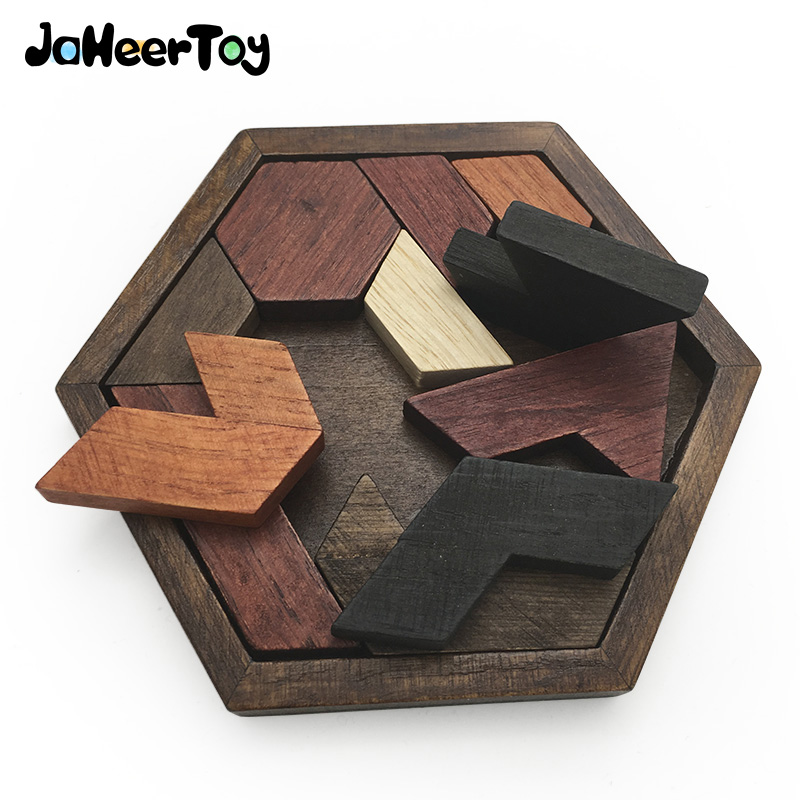 JaheerToy Tangram Jigsaw Board Puzzle Geometric Shape Baby Wooden Toys for Children Montessori Educational Toy Hexagon цена