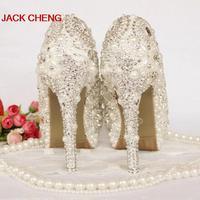 2016 Nicest Elfenbein Perle Hochzeit Schuhe Peep Toe Strass Braut Schuhe Kristall Handgemachte Frauen High Heel Plattform Partei Prom Schuhe