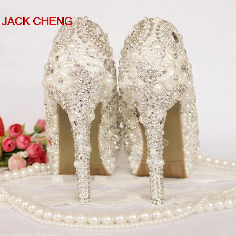 2018 Nicest Ivory Pearl Wedding Shoes Peep Toe Rhinestone Bride Shoes  Crystal HandMade Women High Heel Platform Party Prom Shoes 0a9da3efb534
