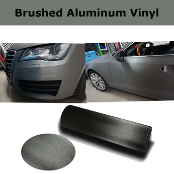 Grey Brushed aluminum Vinyl wrap Car wrapping Metal brushed steel Car Wrap Film With Air Bubble Free 1.52*30M/Roll
