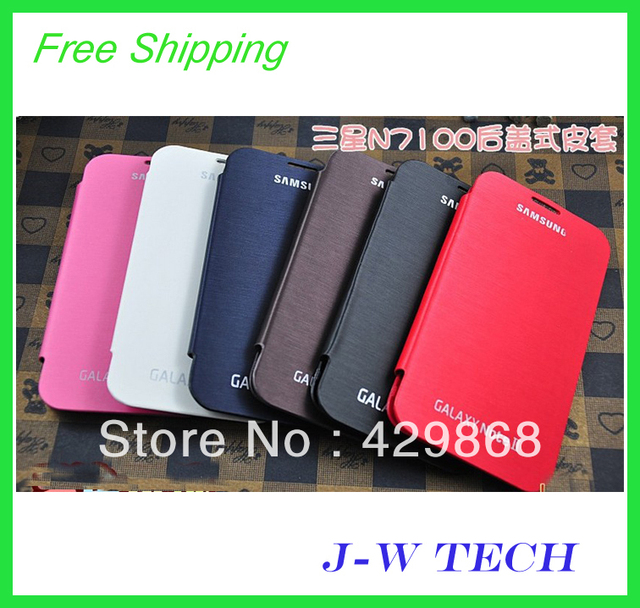 For Samsung Galaxy NOTE2 N7100 Original Flip cover With IC New Slim Side back battery case mobile phone bags A+ free shipping