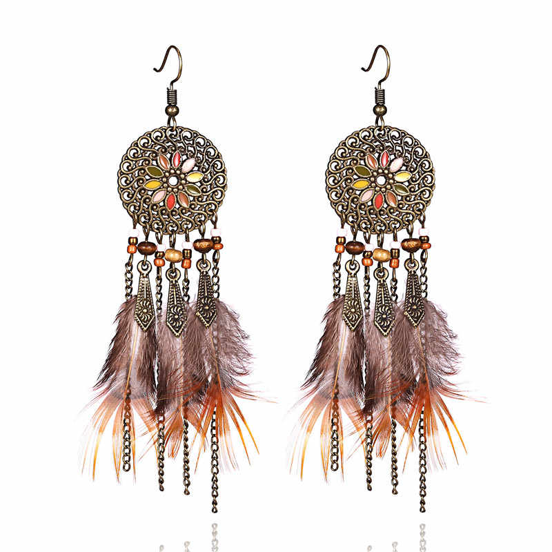 Women Tassel Dangle Long Earrings For Women Owl Leaf Feather earrings Jewelry Earrings Bride Jewelry