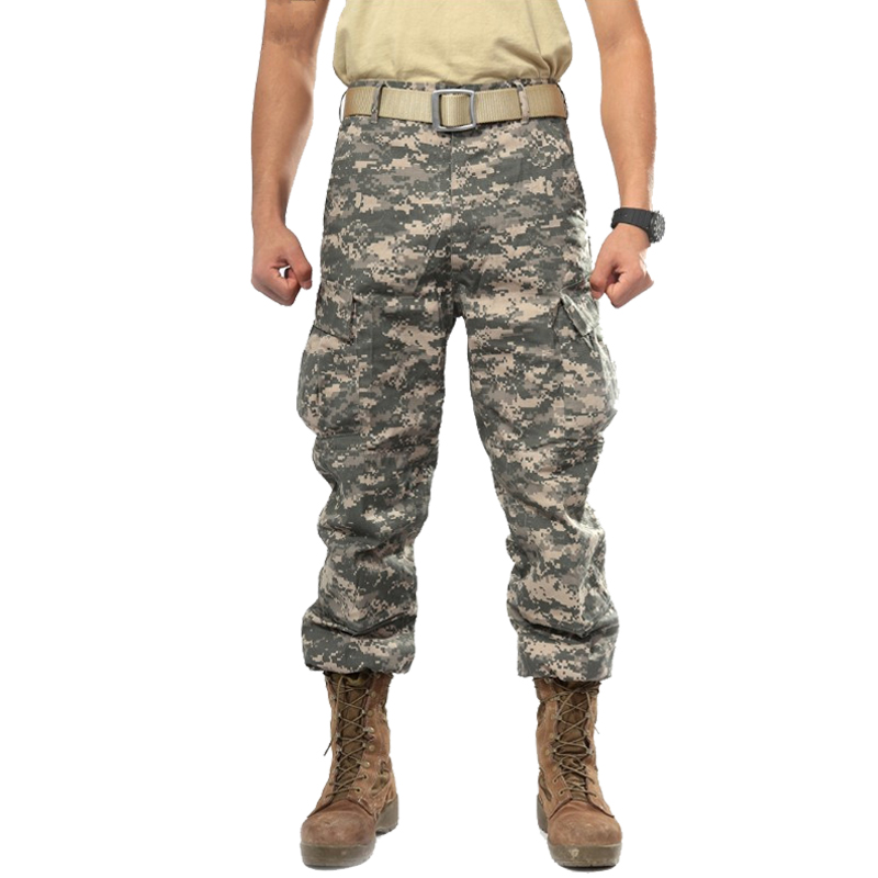 Men's Camouflage Tactical Pants Multi-Pockets Military Digital Camo SWAT Cargo Pants New 2018 Spring Army Long Trousers For Men