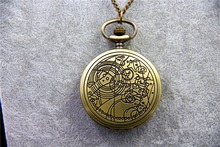 ZRM Fashion Vintage TARDIS Necklace Doctor Who Pocket Watches Necklace Gallifreyan Necklace Jewelry Men Women Gifts Dia45mm