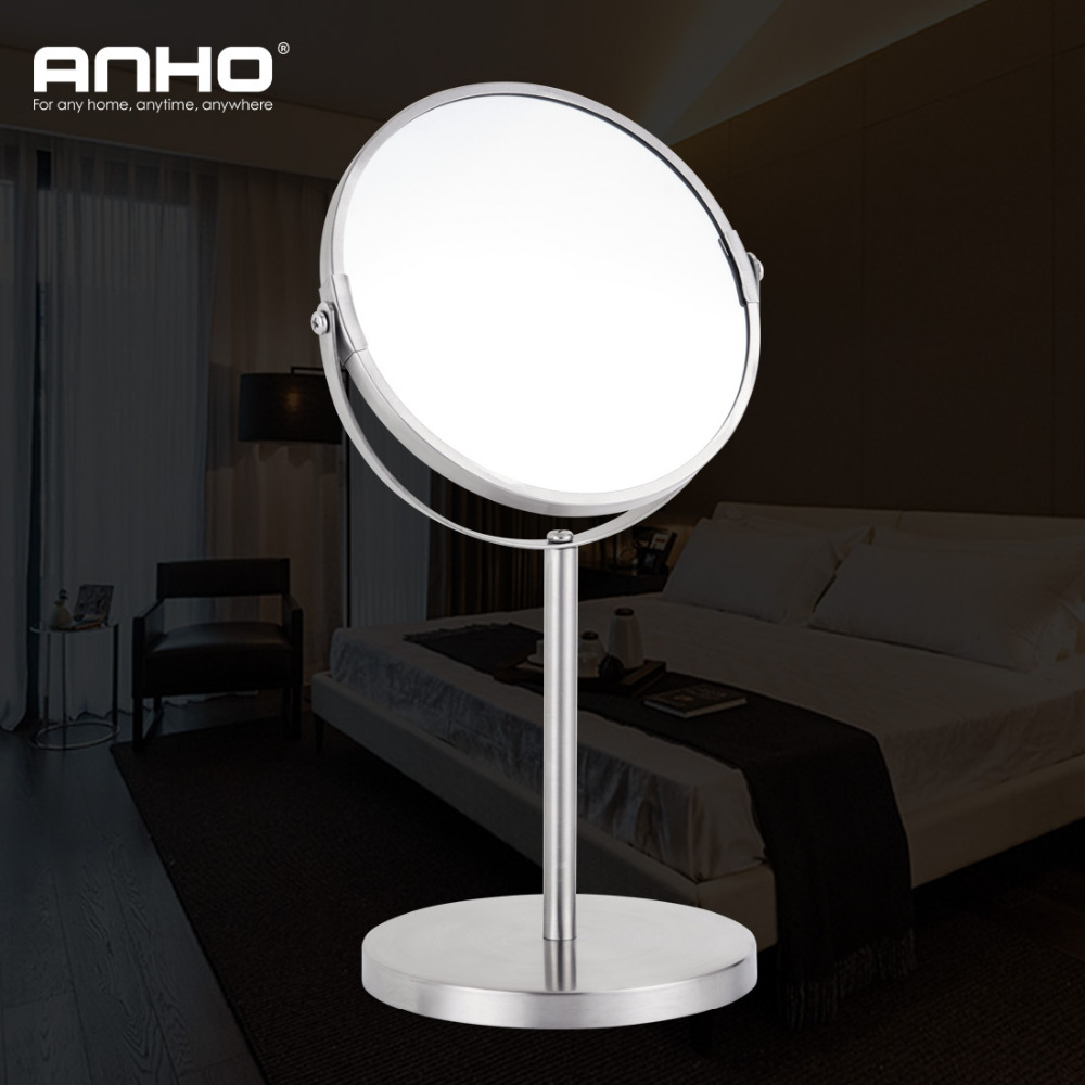 ANHO 1X&3X Magnification Table Standing Cosmetic Makeup Mirror Double Side Reversing 7 Inches Mirror Bedroom Makeup Tools