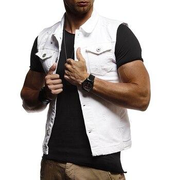 цена Sleeveless Outer Wear Man Summer Waistcoat Denim Classic Vest Coat Fashion Men Slim Fit Turn-down Collar Men Jean Vest New D40 онлайн в 2017 году