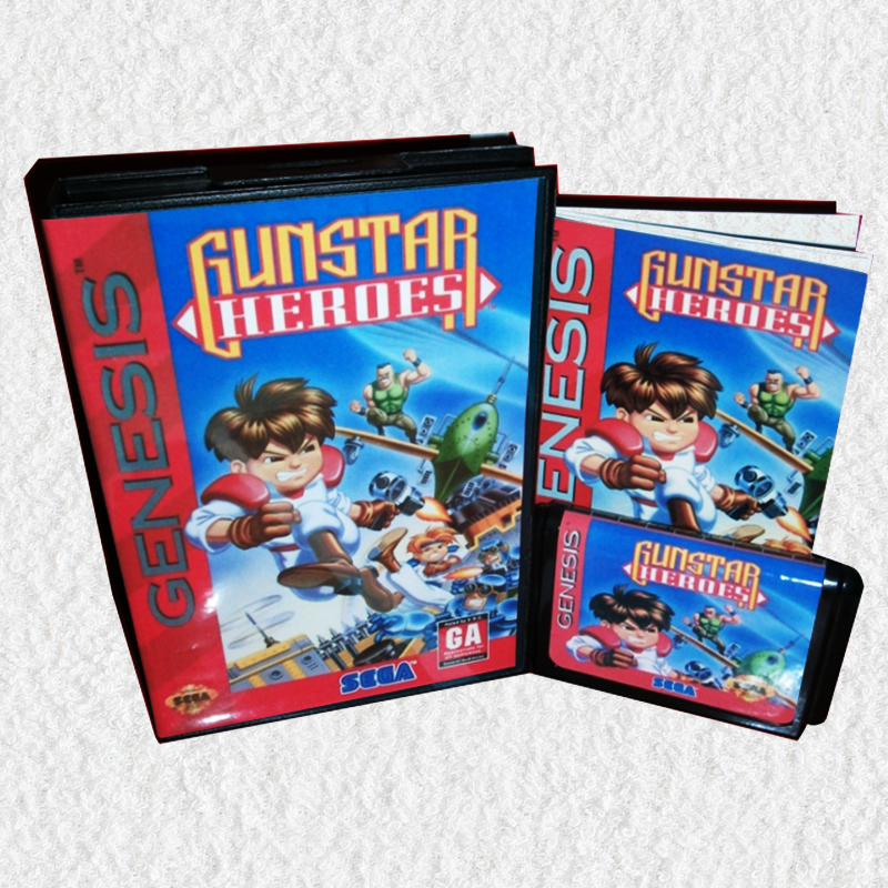 Gunstar Heroes US Cover with Box and Manual for MD MegaDrive Genesis Video Game Console 16 bit MD card