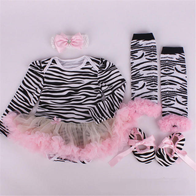 Meninas do bebê manga longa romper tutu dress set bebê 4 pcs conjuntos de roupas meias sapatos headband do bebê da princesa conjunto de roupas st34