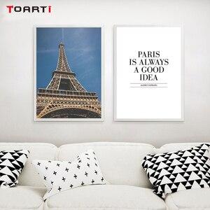 Image 2 - Città moderna di Parigi Paesaggio Stampe Poster Nordic Parigi Citazioni della Tela di Canapa Pittura Sulla Parete del Soggiorno Complementi Arredo Casa di Arte Immagini