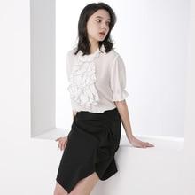 Summer White Heavy Silk T Shirts Women Sweet Ruffles Half Sleeve Cute Pullover Ladies Tops poleras mujer Mori Girl Tee kawaii