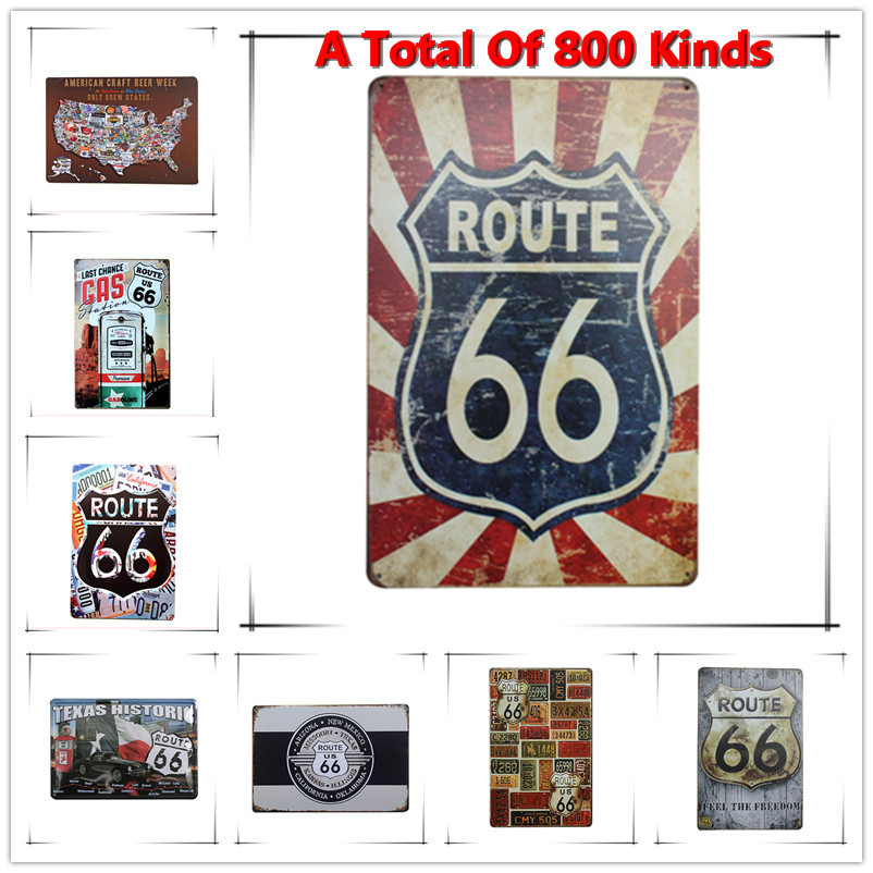 Chic Home Bar ROUTE 66 Vintage Metal Signs Home Decor Vintage Tin Signs Pub Vintage Decorative Plates Metal Wall Art