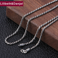 2019 Creative 2mm Thick Mom Weave Rope Necklace 100% 925 Sterling silver Women Men Africa Pendant Necklace Fashion Jewelry N53