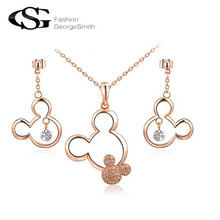 2017 Women Jewelry Set Charms Crystal Mickey Mouse Stud Earrings/Long Necklace Wedding Pendant Chain Jewelry Bijoux Femme