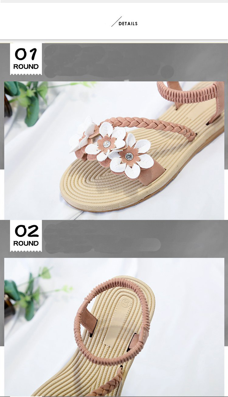 HTB1m34GSIfpK1RjSZFOq6y6nFXaa - Summer Shoes Woman Sandals Elastic ankle strap Flat Sandalias Mujer Flowers Gladiator Beach Sandals Ladies Flip Flops