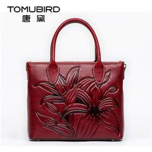 Famous brand top quality Cow Leather women bag  Original national wind upscale handbag Chinese style embossed tote bag