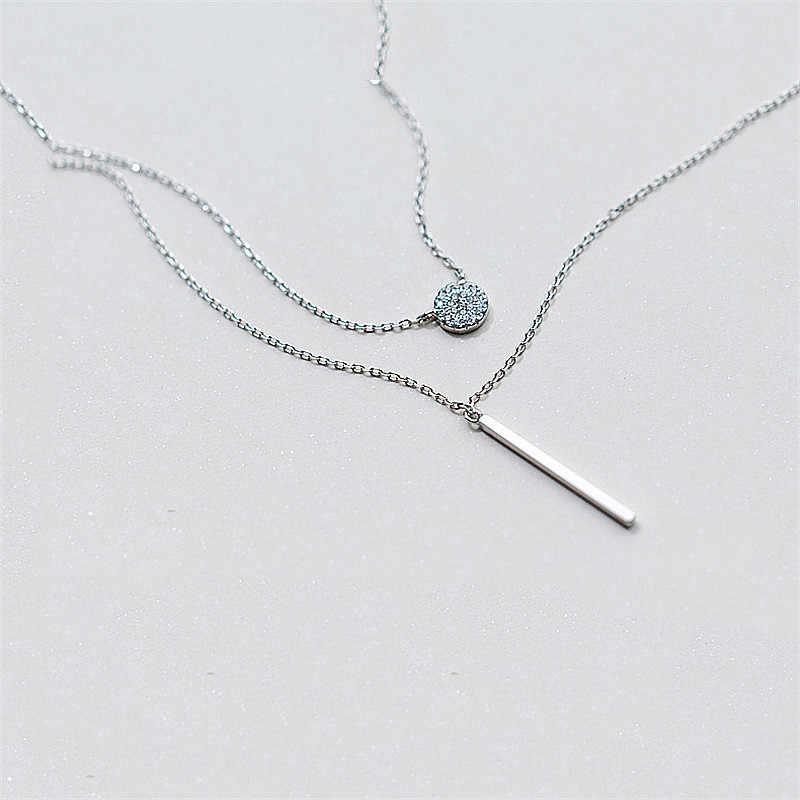 INZATT Real 925 Sterling Silver Double Layer เรขาคณิตสร้อยคอจี้เครื่องประดับสำหรับผู้หญิงงานแต่งงาน Bijoux