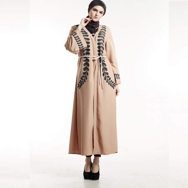 Lady Summer Embroidered Maxi Dress Abaya Islamic Dubai Kaftan Ramadan Middle Eastern National Long Sleeve Lace Dress lkoezi Women Muslim Robe