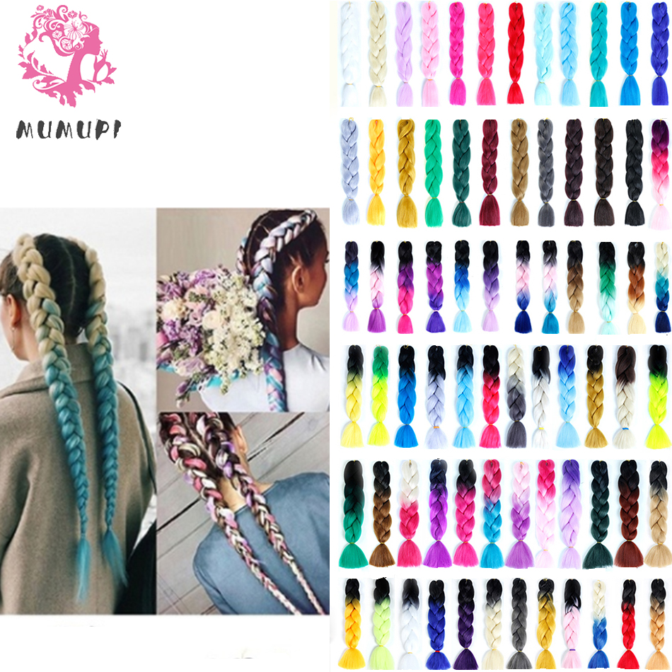MUMUPI fashion Synthetic Jumbo Braids Crochet Hair 24 inch Ombre Hair Kanekalon Braiding Hair Extensions For Women   headwear