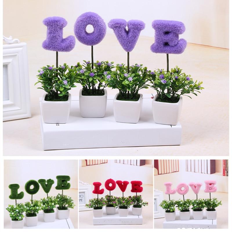 unidades amor patrn de plantas bonsai con florero pequea flor artificial para la boda