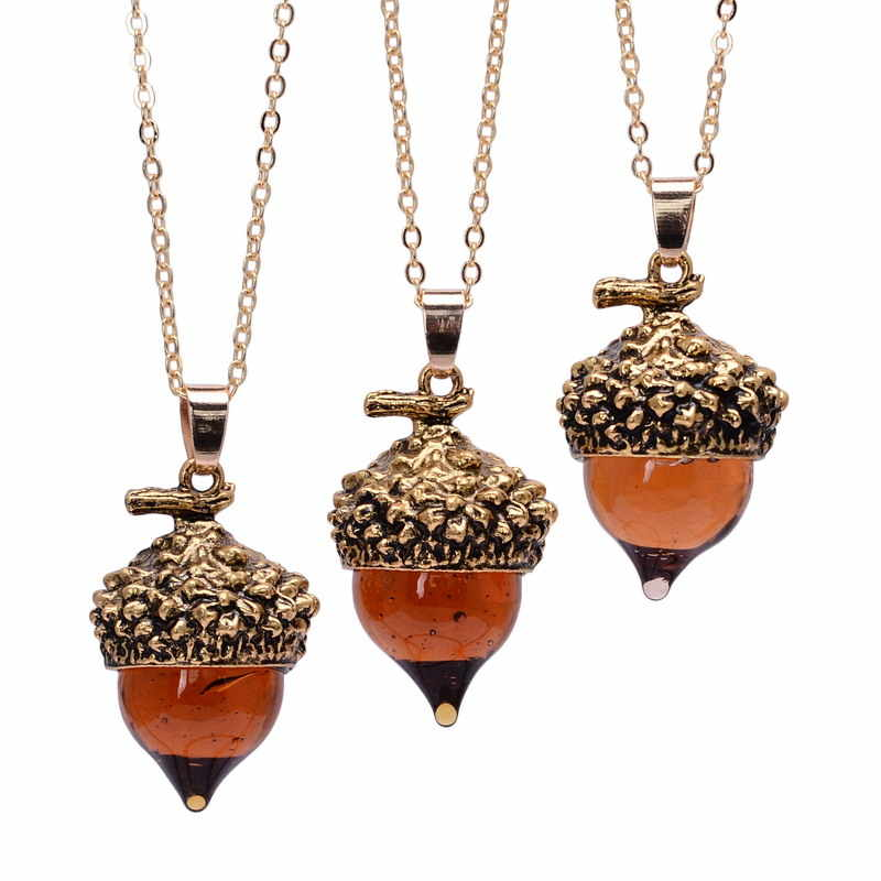 SEDmart 2016 Women Glaze Stone Necklace Orange Quartz Pine Cone Acorn Design Pendant Drop Crystal Glass Stone Necklace Jewelry