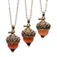 Fashion Womens Coloured Glaze Stone Necklaces Orange Quartz Pine Cone Design Pendant Drop Natural Jewelry Gift