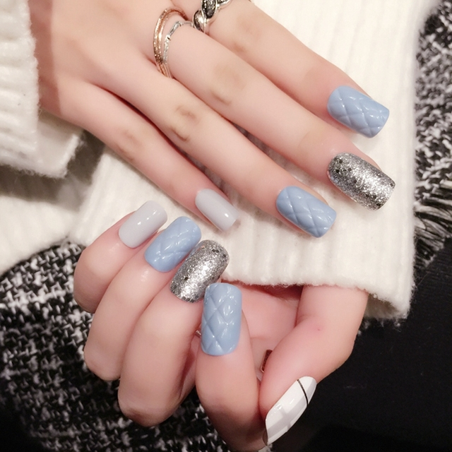 White Tip Nails With Silver Glitter