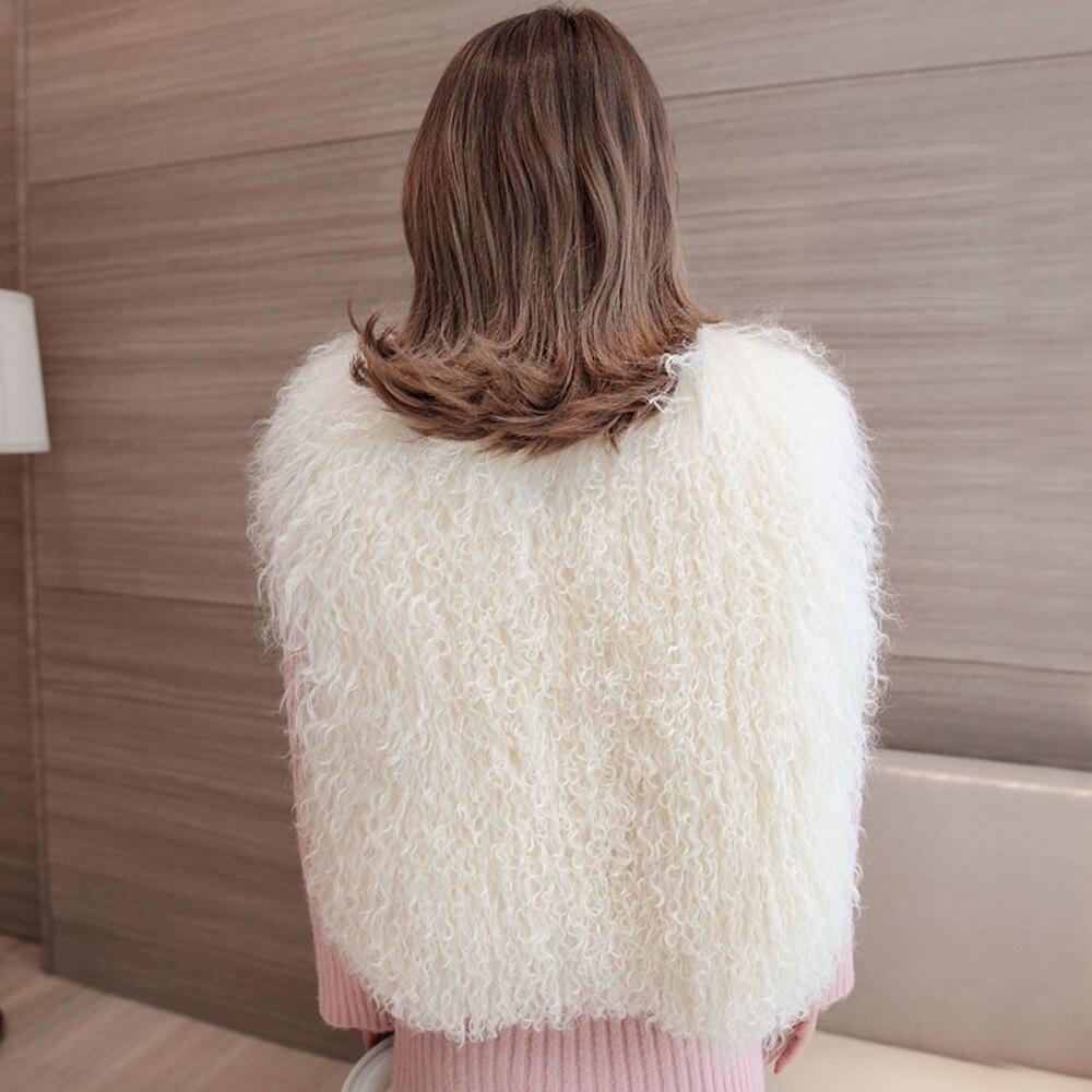 100 Mode Femmes Sans White Pardessus Moutons V Chaud Hiver cou Mongolie Fourrure Veste De Nouvelle Naturelle Gilet Manches z5w6Tq7T