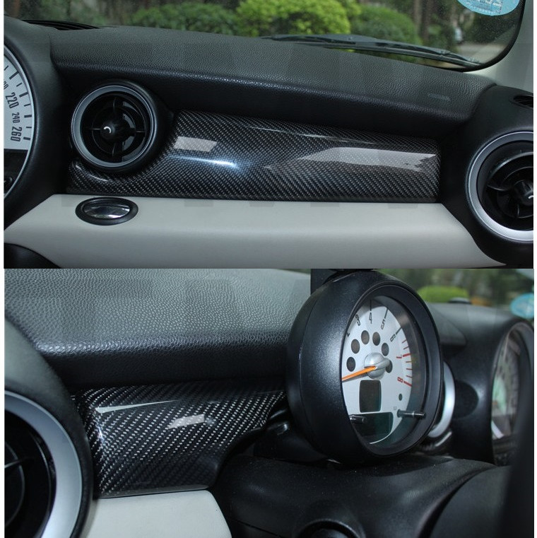 ABS Carbon Fiber Printed Car Interior Decorative Dashboard Cover Styling Moulding Trim Sticker for MINI COOPER R55 R56ABS Carbon Fiber Printed Car Interior Decorative Dashboard Cover Styling Moulding Trim Sticker for MINI COOPER R55 R56