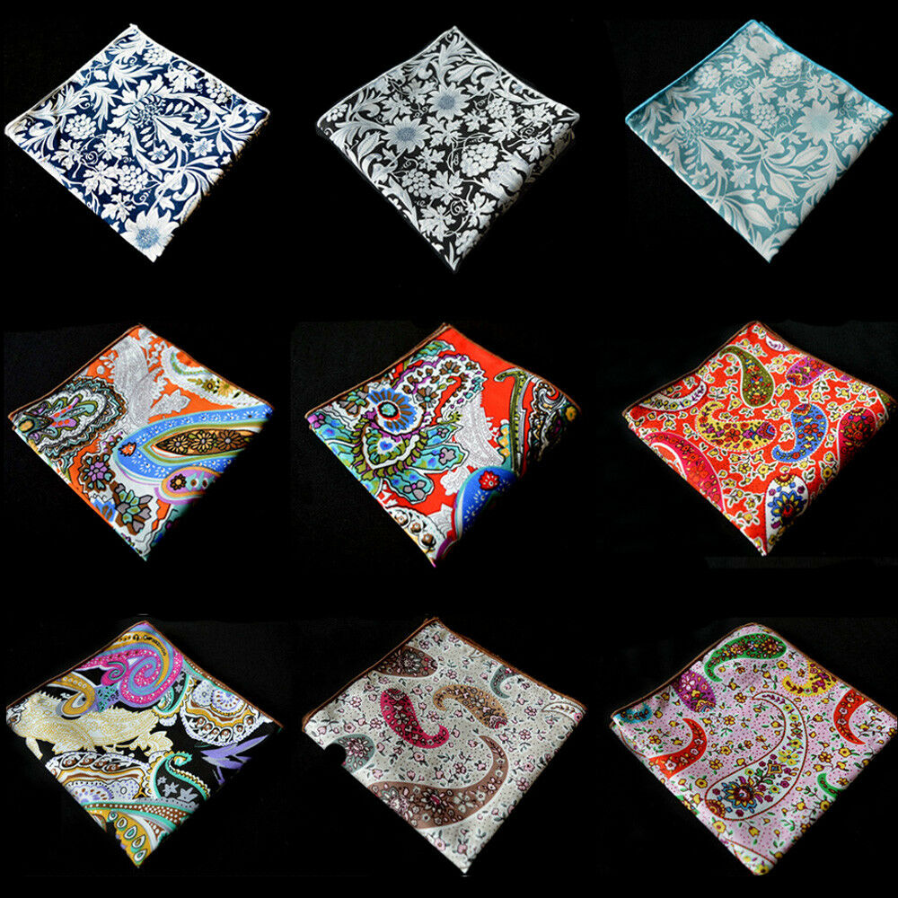 Men Cotton Paisley Pocket Square Wedding Colorful Flower Handkerchief Hanky YXTIE0505