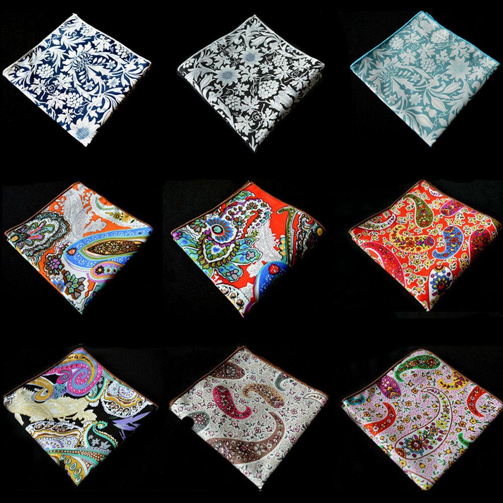 Men Cotton Paisley Pocket Square Wedding Colorful Flower Handkerchief Hanky YXTIE0505