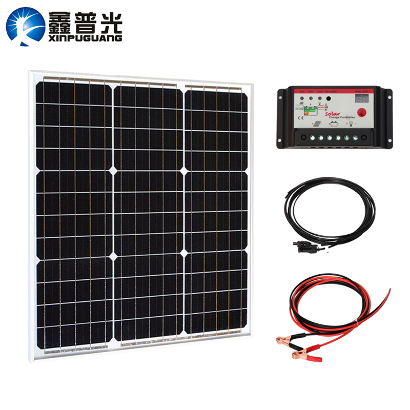 40w glass solar panel Mono cell PV module DIY system kit 12v/24v 10A controller cable MC4 connector for 12v battery light