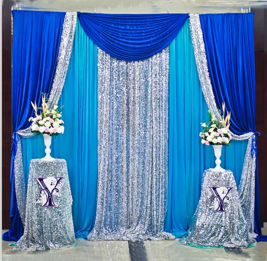 10ft x 10ft Royal Blue Silver With Blue Wedding Backdrop Wedding ...