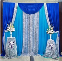 10ft x 10ft Royal Blue Silver With Blue Wedding Backdrop Wedding Background Curtain Party Decoration