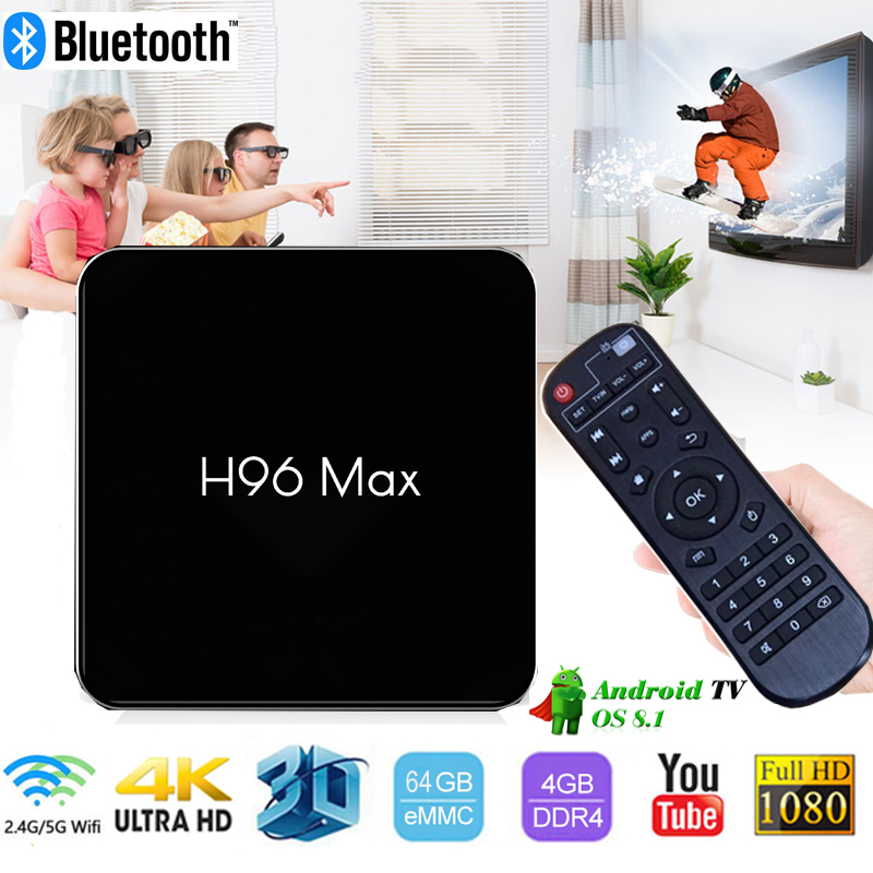 H96 MAX X2 Android 8.1 smart TV Box 4gb ram 64GB rom Amlogic S905X2 Quad Core BT 2.4G/5G Wifi 4K H.265 Media Player Set Top box