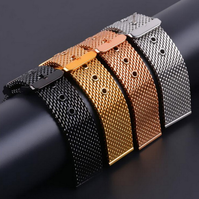 Stainless Steel Mesh Milanese Watch Band Strap Wrist Watchband Wristwatch Buckle Black Rose Gold Silver 18mm 20mm 22mm 24mm top quality new stainless steel strap 18mm 13mm flat straight end metal bracelet watch band silver gold watchband for brand