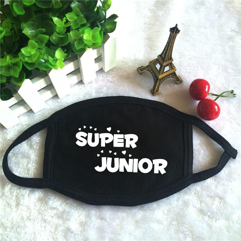 Kpop Super Junior Sj Suju Sujr Logo Album Drucken K-pop Mode Gesicht Masken Unisex Baumwolle Schwarz Mund Maske 100% Garantie Masken Damen-accessoires