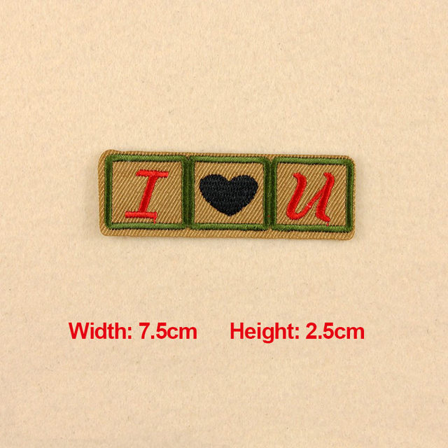 1pc Patches For Clothing Embroidery Badge Text Word I Love U Patches