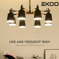 EKOO E27 Modern 3/6/8 White Black Metal Shades Chandelier Wood Kitchen Fixtures